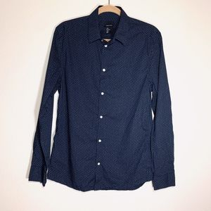 H&M Cotton Polka-Dot Long-Sleeve Button Down
